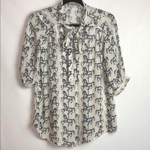 ASOS Black & White Horse Print Neck Tie Buttondown